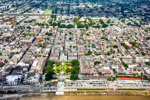 The famous French Quarter of New Orleans, Louisiana shot from an altitude of about 1000 feet using a wide angle lens.