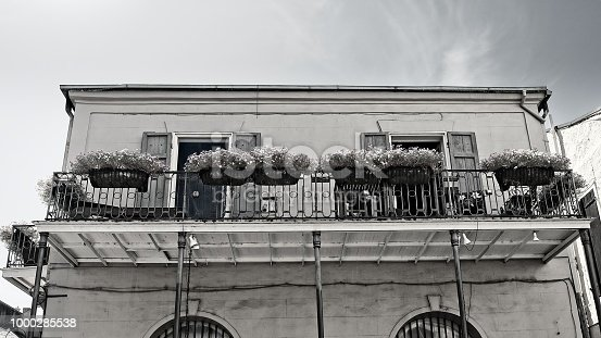 New Orleans, LA USA - May 9, 2018  -  French Quarter Balcony with Plants 9 in B&W