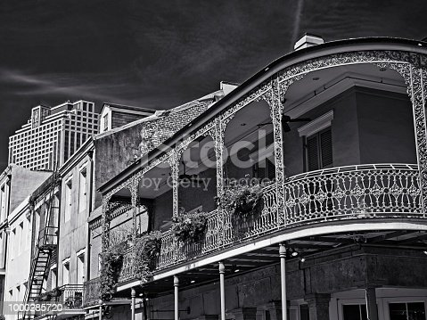 New Orleans, LA USA - May 9, 2018  -  Old French Quarter Buildings with the CBD in Background #3