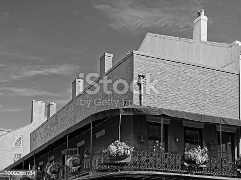 New Orleans, LA USA - May 9, 2018  -  French Quarter Baloney with 5 Planters in B&W