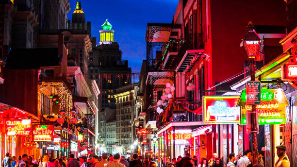 French Quarter nightlife - New Orleans, Louisiana stock photo