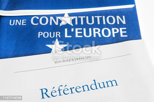1126684642 istock photo French referendum documents with European Union constitution paper close-up on titles placed on white table 1147114245