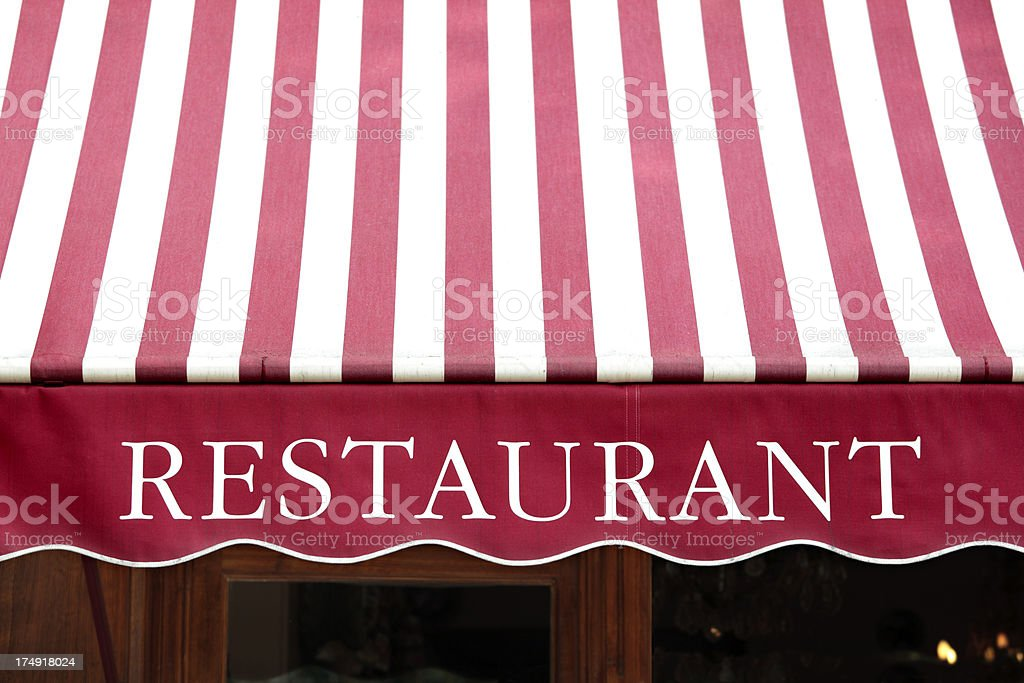 French Restaurant entrance in Paris stock photo