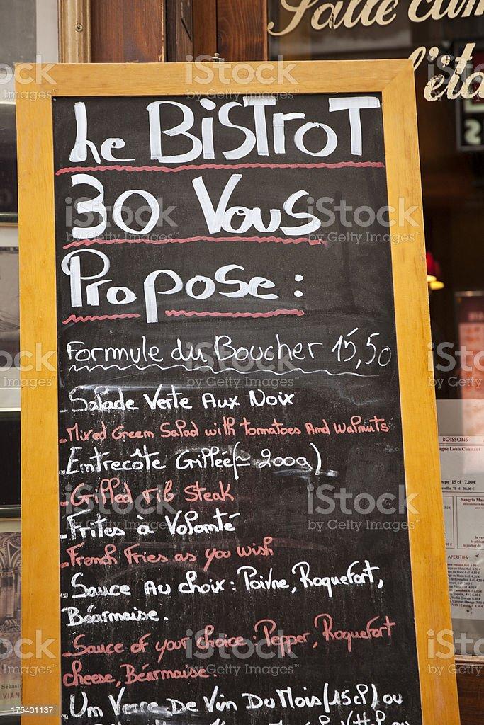 French Restaurant Menu Paris Stock Photo - Download Image
