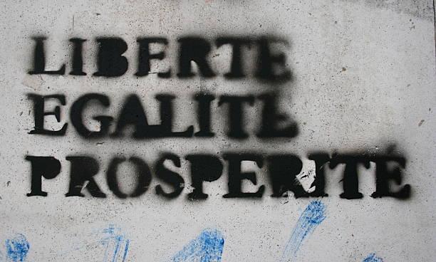 french revolution slogan: liberté, egalité, prosperité stock photo