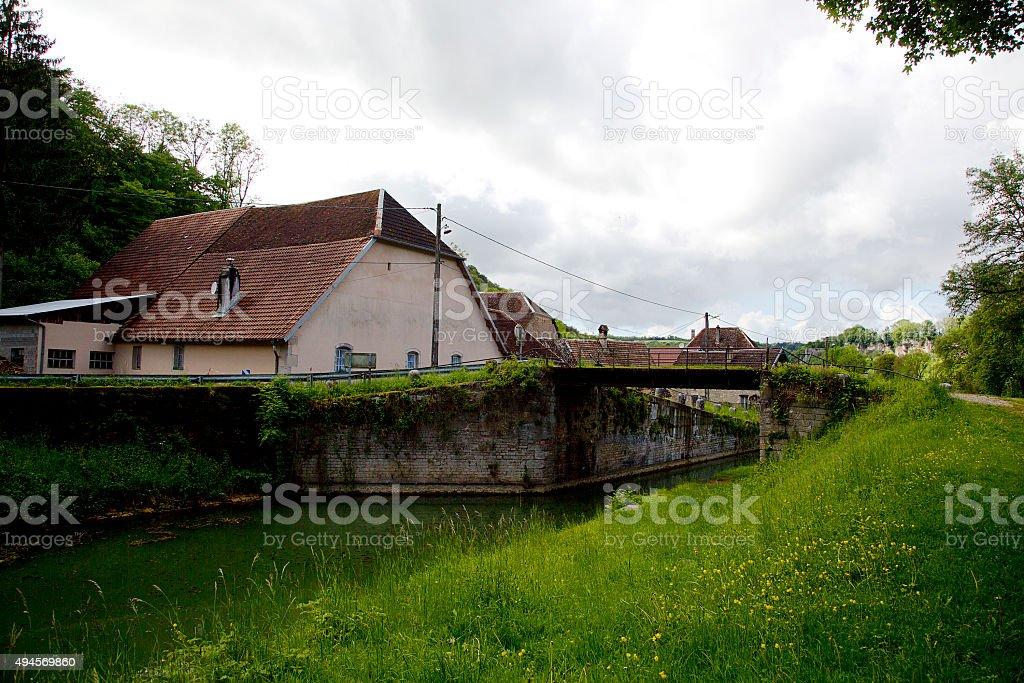 French Rhône-Rhine Canal with small village stock photo