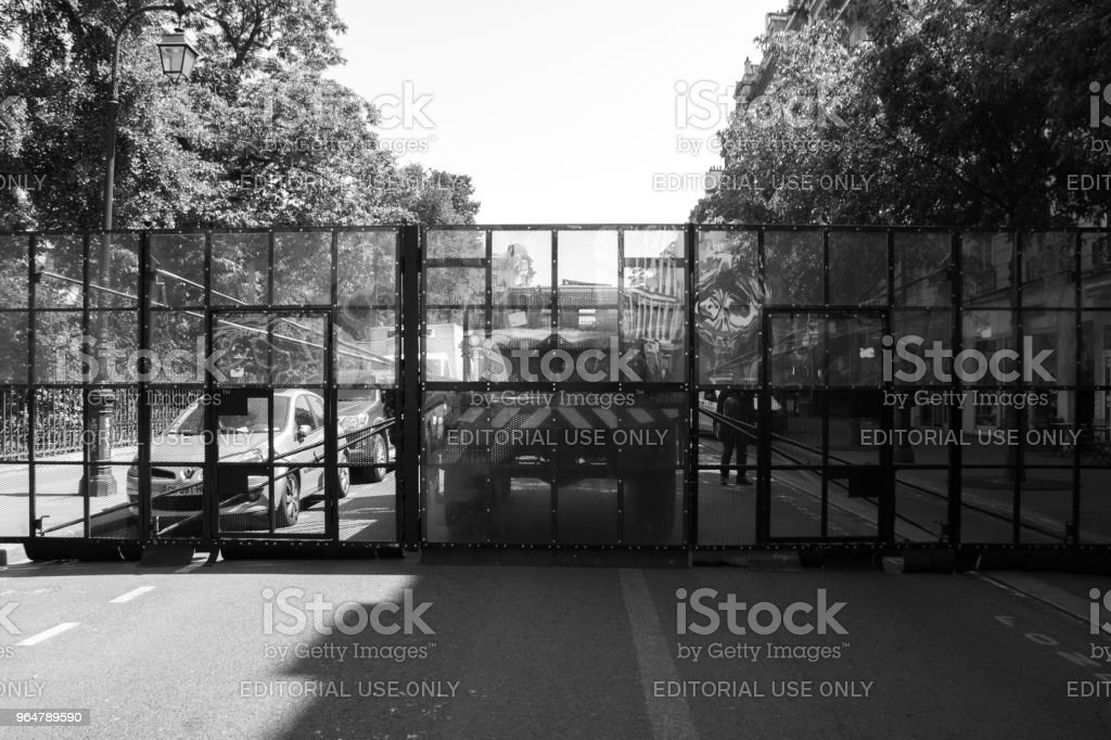 French riot police blockade a road ahead of a protest royalty-free stock photo