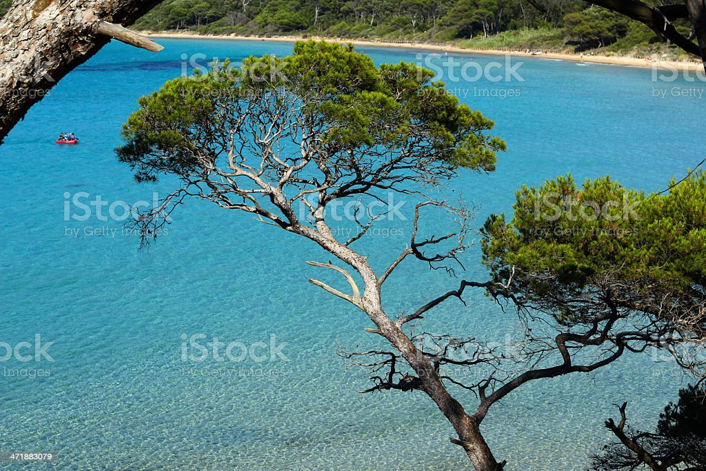 French riviera blue water stock photo