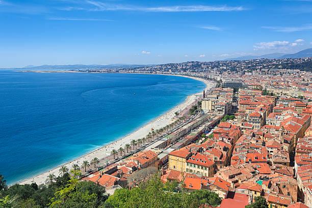 French riviera coastline at Nice, France stock photo
