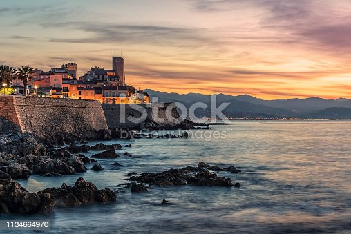 Antibes old town on the French Riviera at sunrise