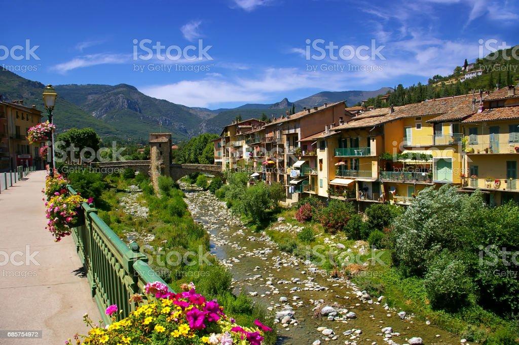 French Riviera: Sospel village, medieval bridge zbiór zdjęć royalty-free