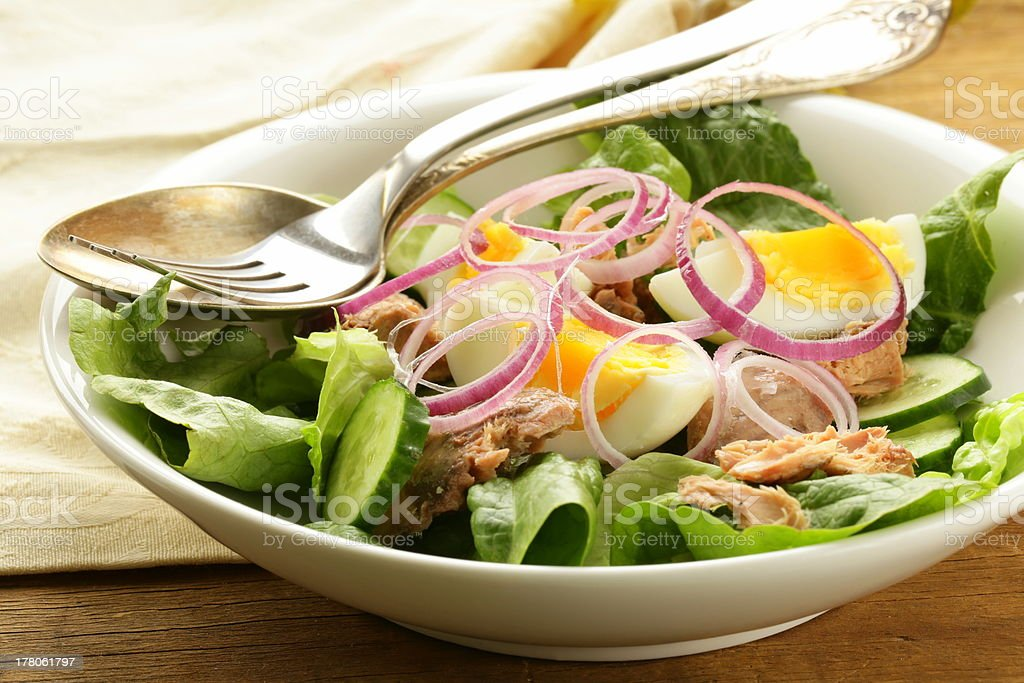 French salad Nicoise - with tuna and egg royalty-free stock photo