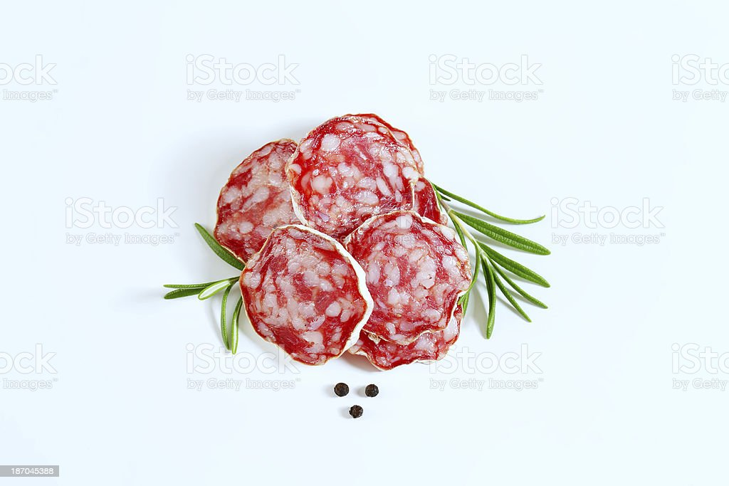 french salami slices stock photo