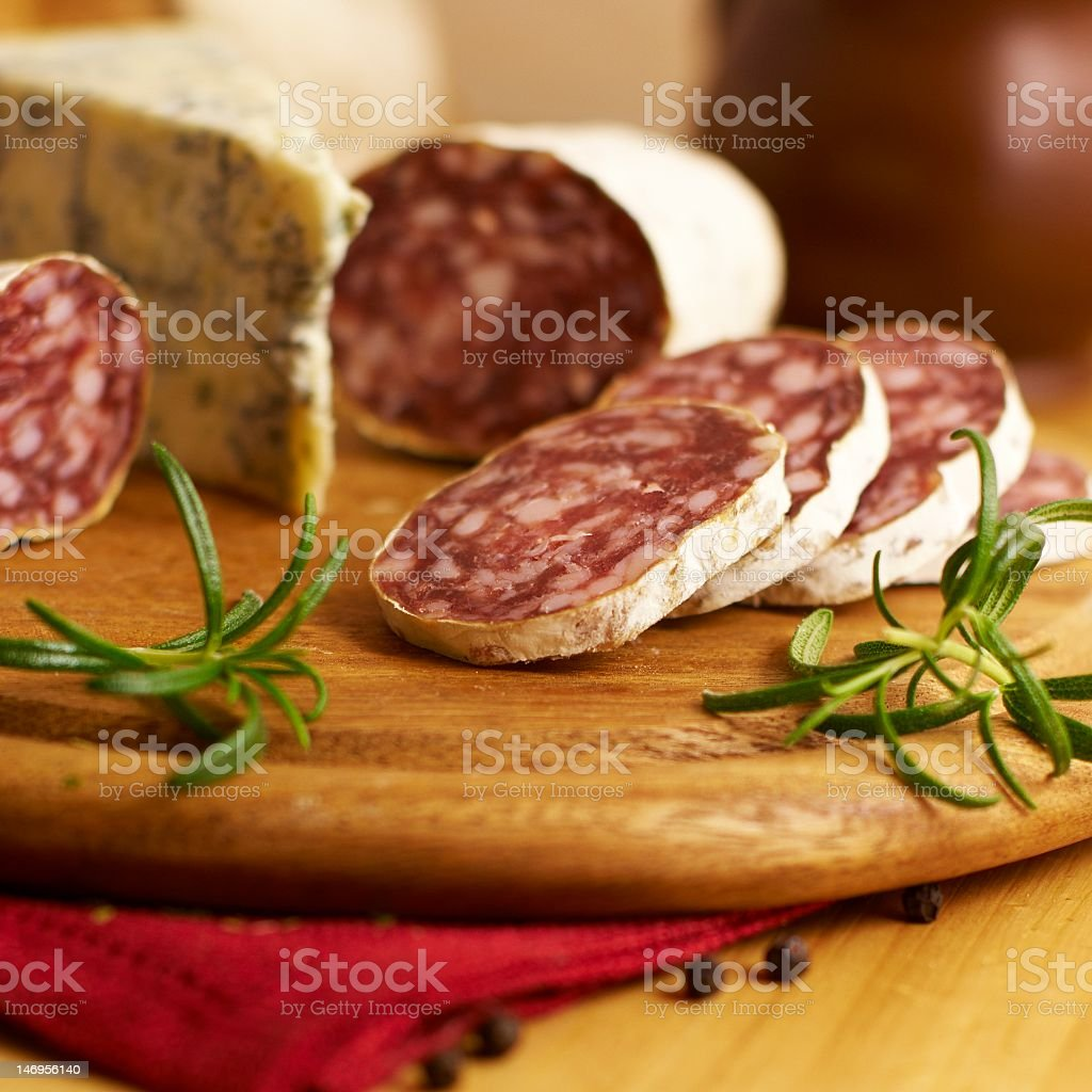 French Salami with Herbs royalty-free stock photo