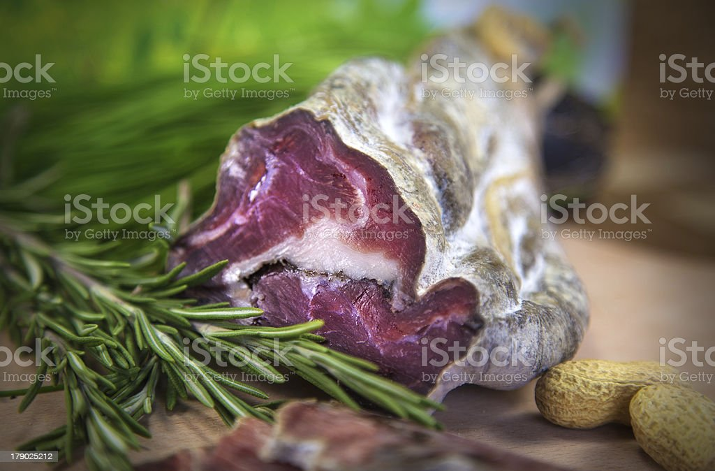 French sausage with rosemary royalty-free stock photo