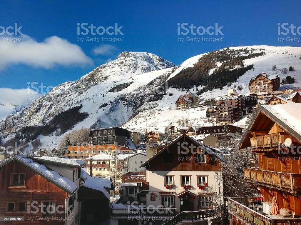 French ski resort town and slopes, France stock photo