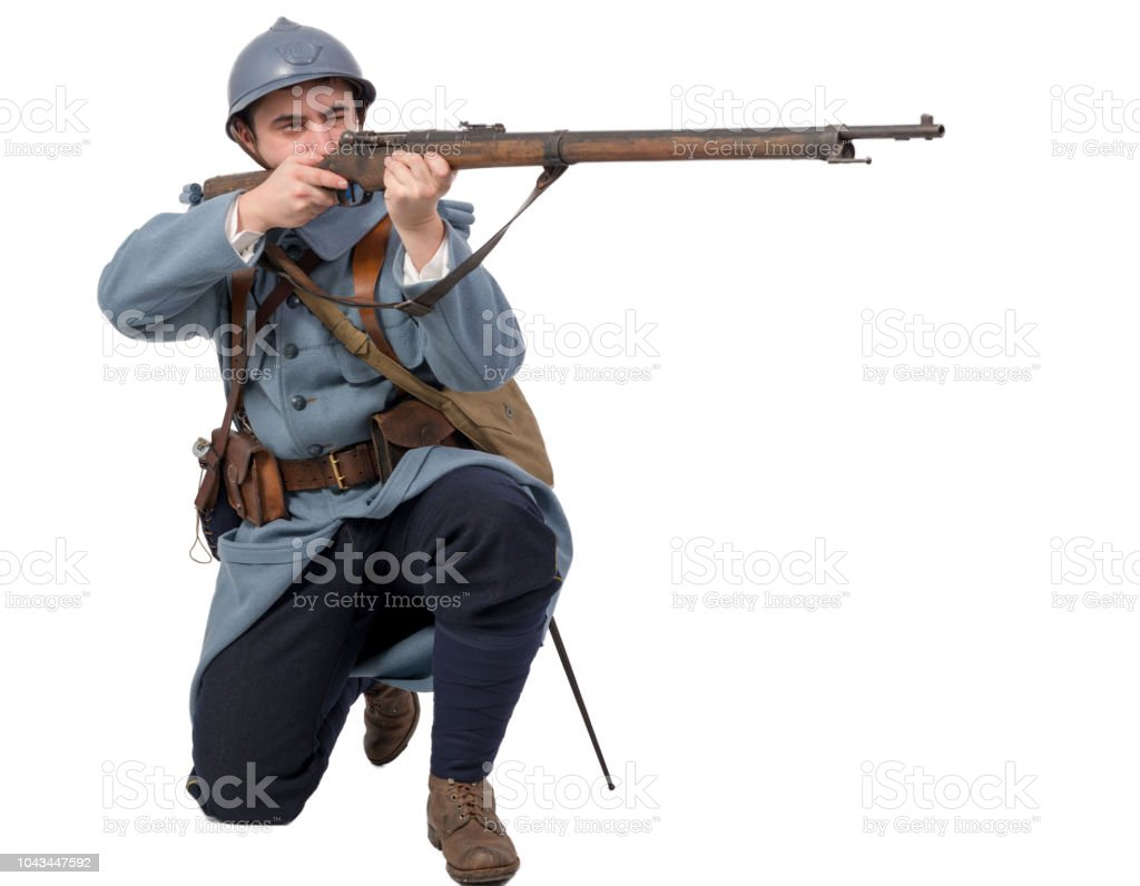 French soldier 1914 1918 attack, November 11th on white background stock photo
