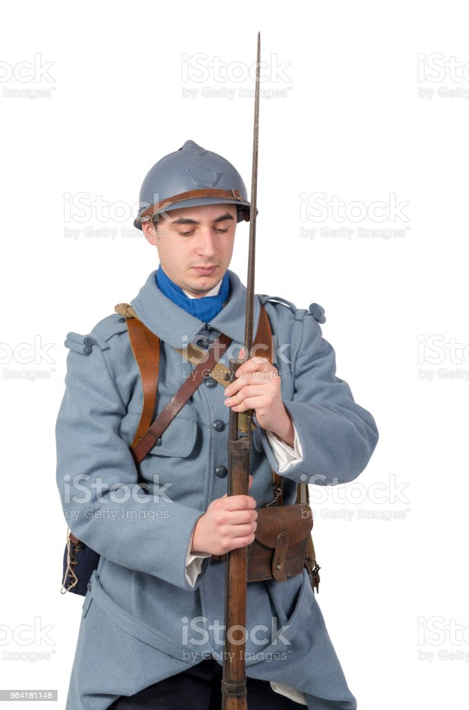 French soldier 1914 1918 isolated on a white background stock photo