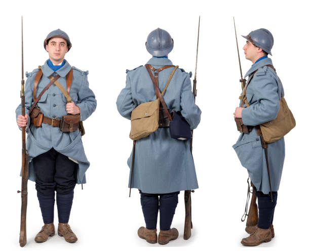 French soldier 1914 1918, November 11th, front, back and side view, isolated on the white background French soldier 1914 1918, November 11th, front, back and side view, isolated on the white background verdun stock pictures, royalty-free photos & images