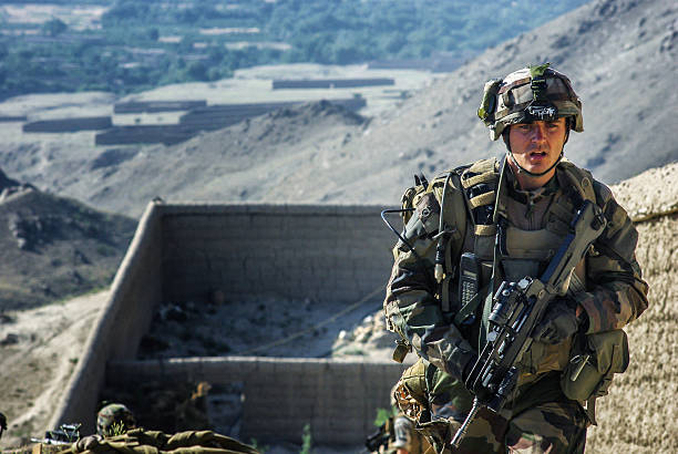 French soldier in Afghanistan stock photo