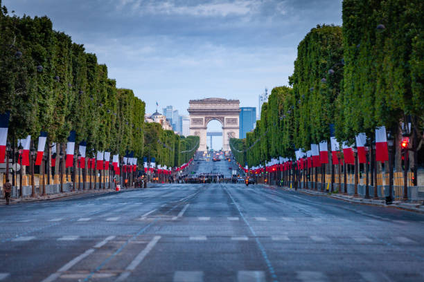 French soldiers rehearsing for Bastille Day parade stock photo