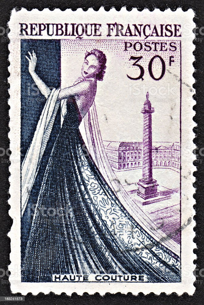 French stamp - Haute Couture royalty-free stock photo