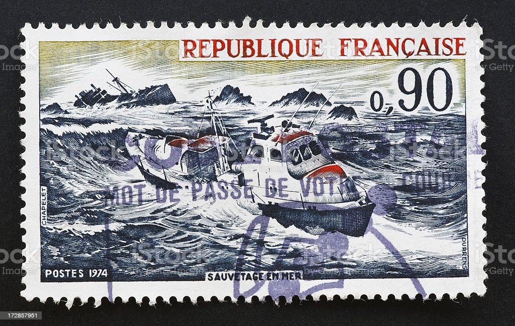 French stamp showing recuse at sea stock photo