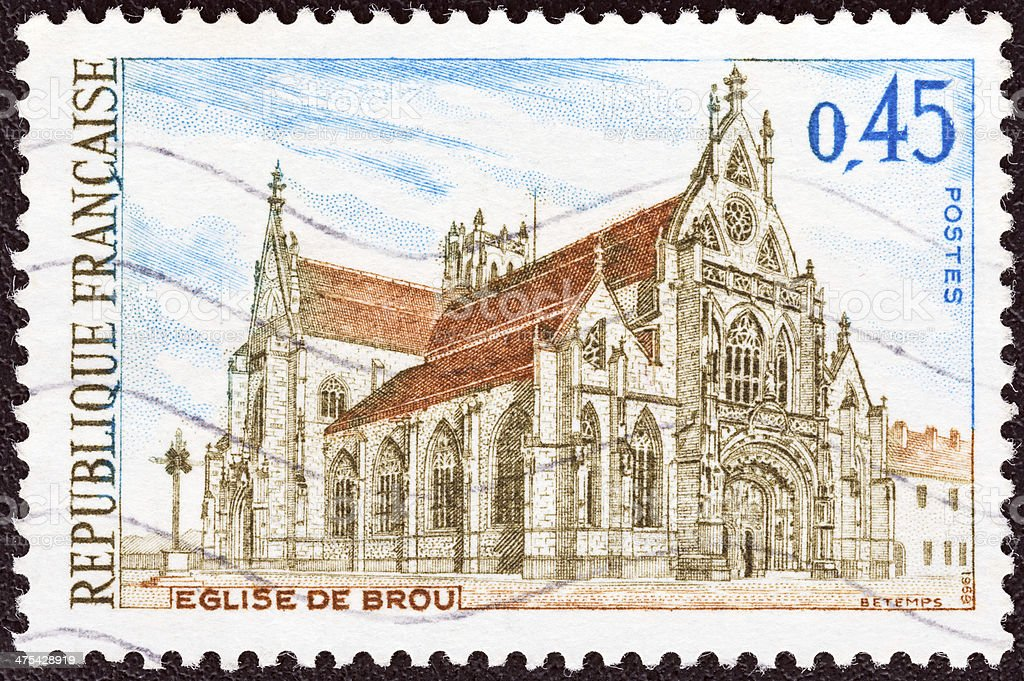 French Timbre montre Brou Church, Bourg-en-Bresse (1969) - Photo