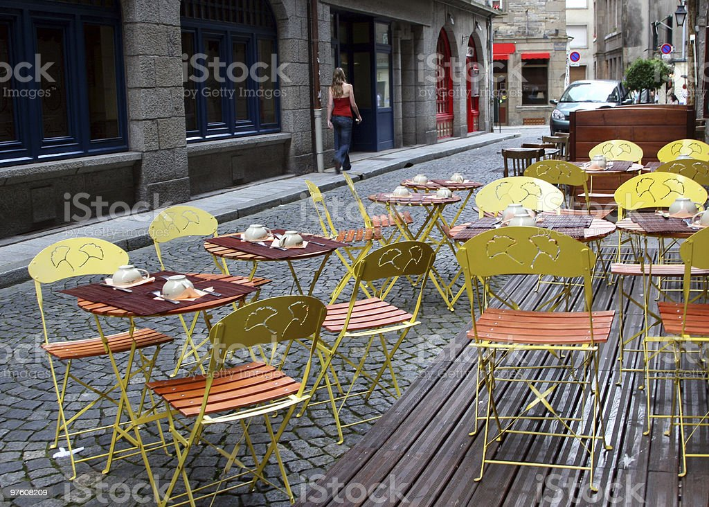 French Street Cafe Tables royalty-free stock photo