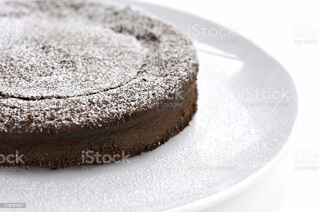French style chocolate cake in white background stock photo