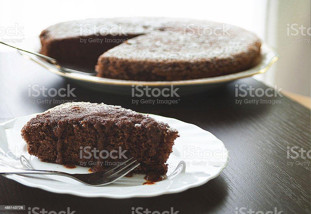French style chocolate cake stock photo
