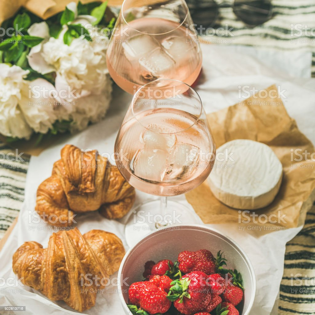 French style romantic summer picnic setting, square crop stock photo