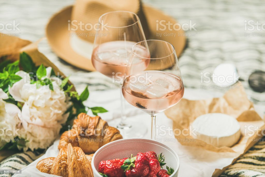 French style summer picnic setting and outdoor gathering concept stock photo