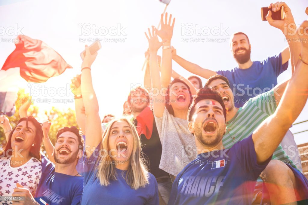 French supporters at the football league supporting their National Team stock photo