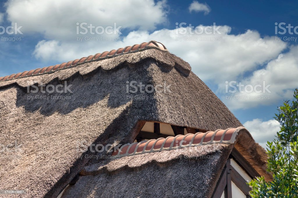 French thatched roof cottage - Royalty-free Ancient Stock Photo