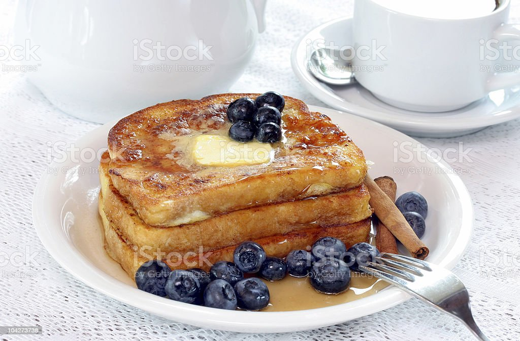 French Toast and Blueberries stock photo