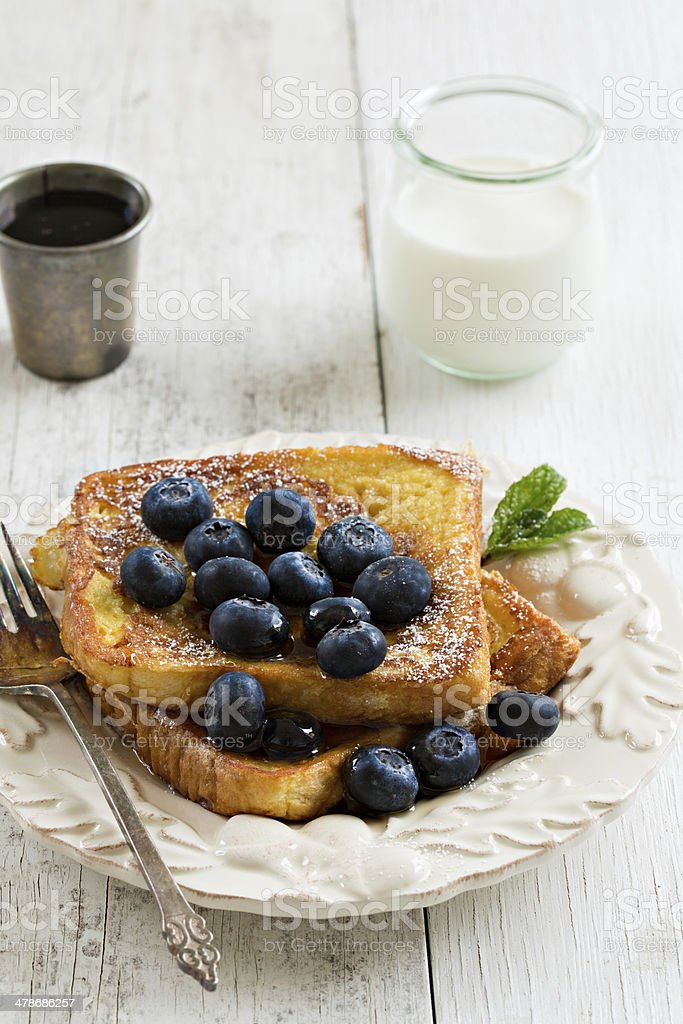 French Toast And Glass Of Milk stock photo