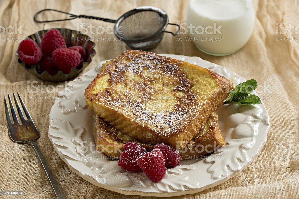 French Toast And Milk stock photo
