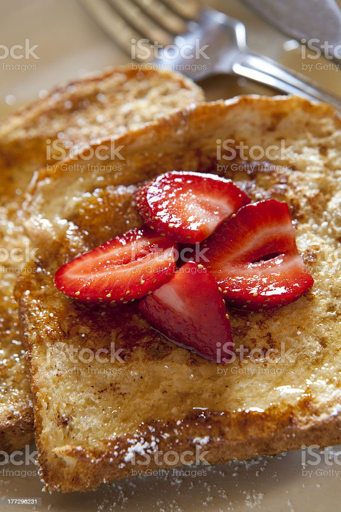 French toast and strawberries. royalty-free stock photo