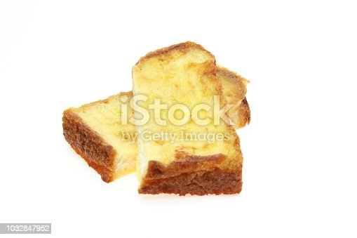 Pictured french toast in a white background.