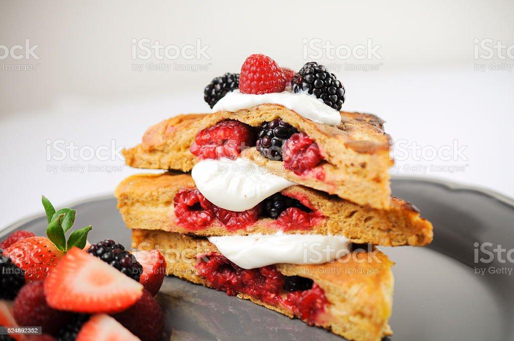 French toast on white wallpaper stock photo