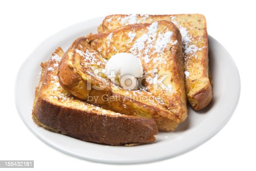 French Toast with Butter Isolated on white
