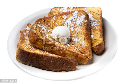 French toast with melted butter and maple syrup.