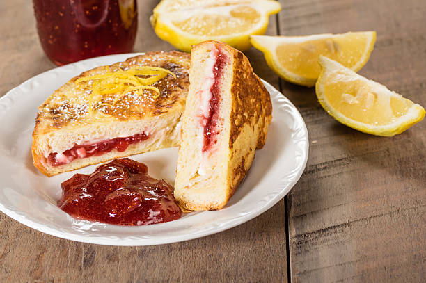 French toast stuffed with cream cheese and strawberry jelly stock photo