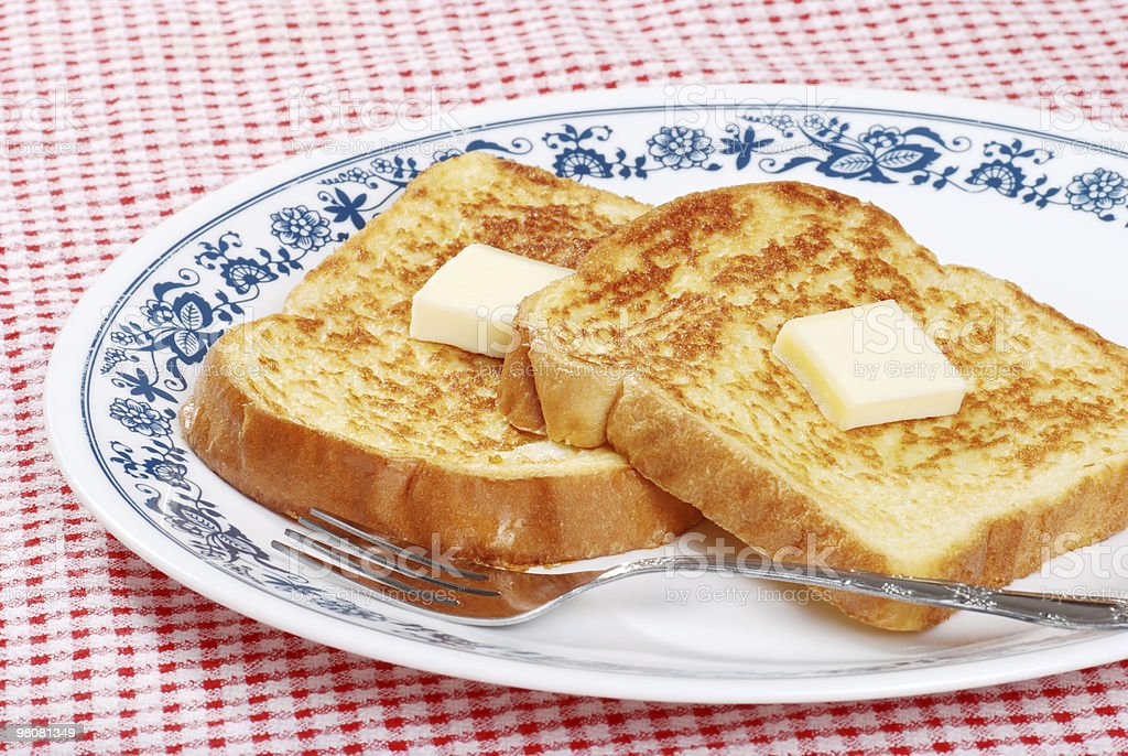 french toast with a fork royalty-free stock photo