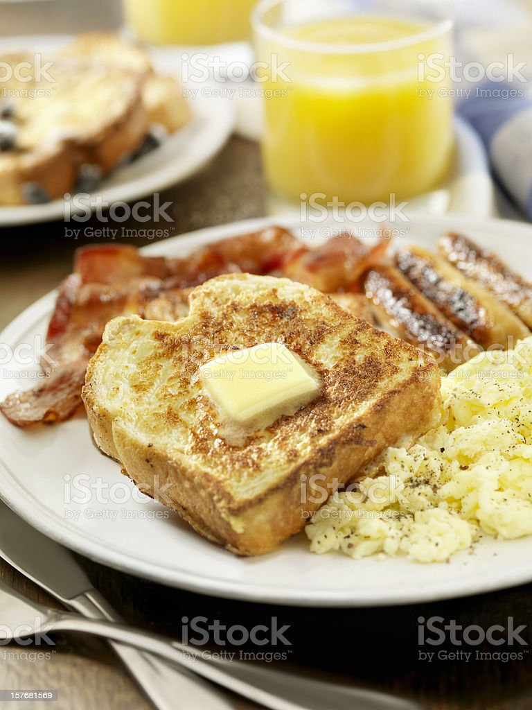 French Toast with Bacon and Eggs royalty-free stock photo