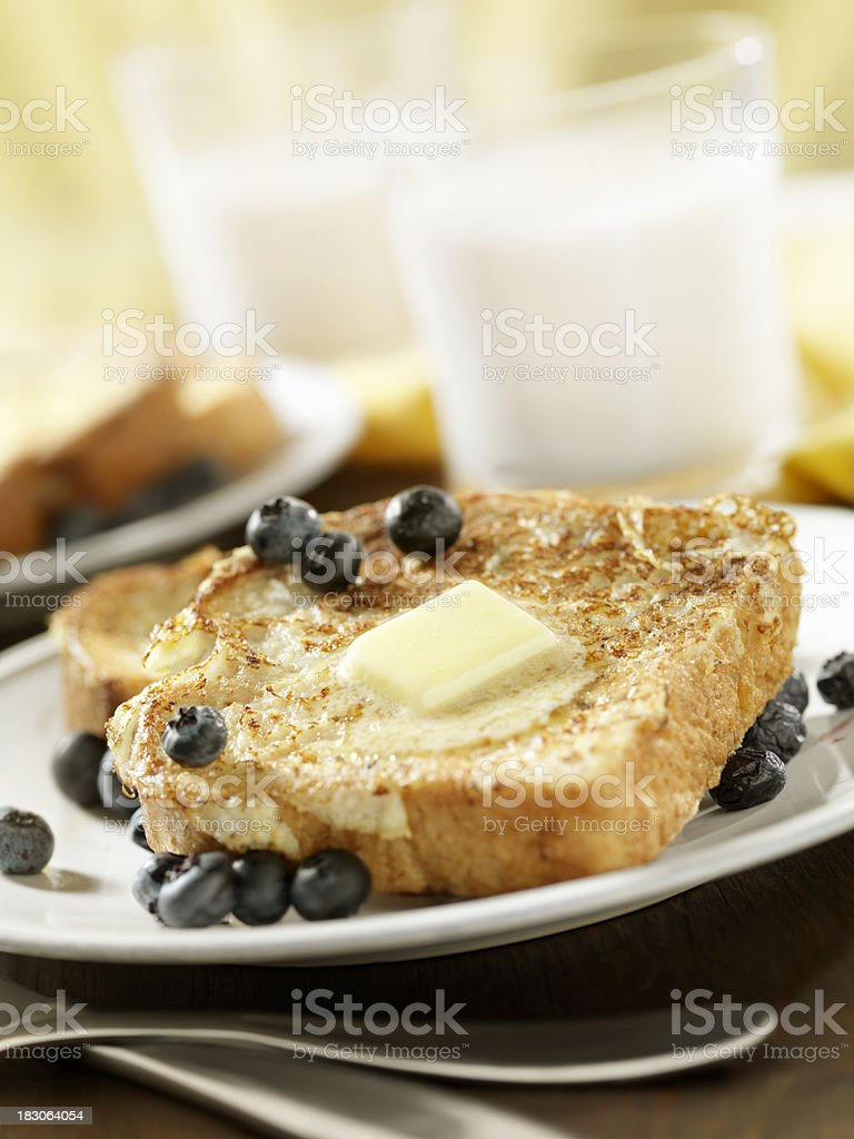 French Toast with Blueberries and Butter royalty-free stock photo