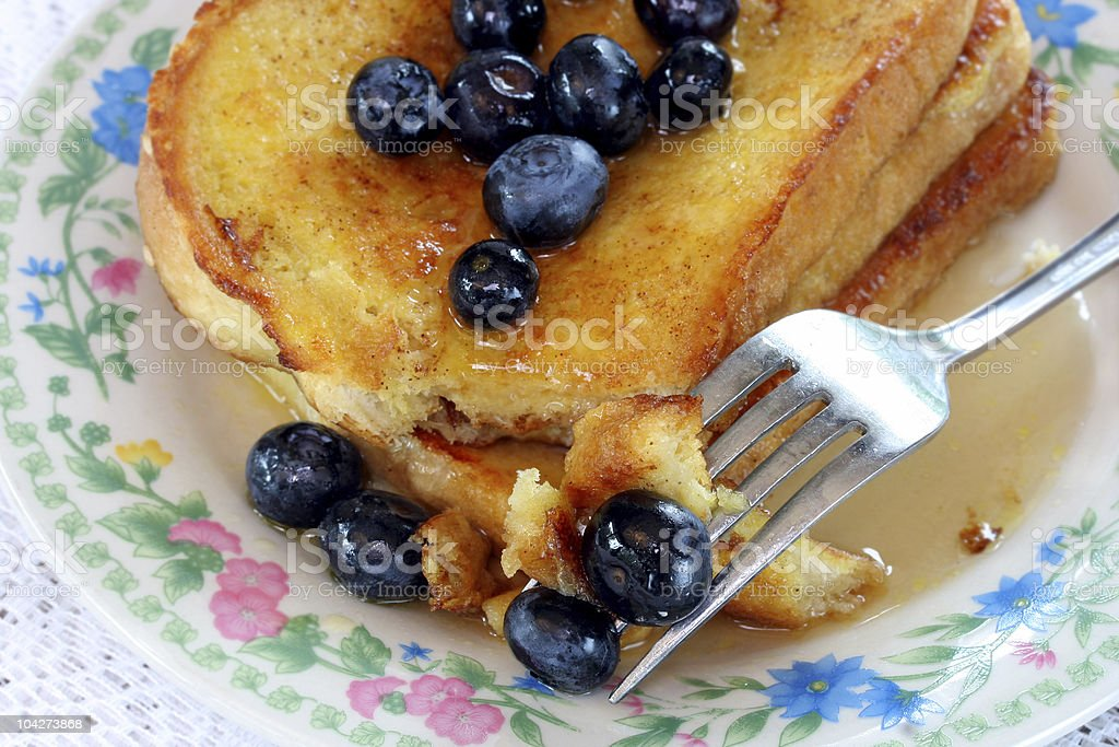 French Toast with Blueberries royalty-free stock photo