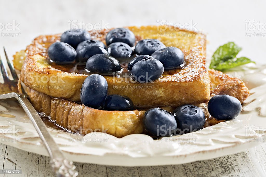French Toast With Blueberries stock photo