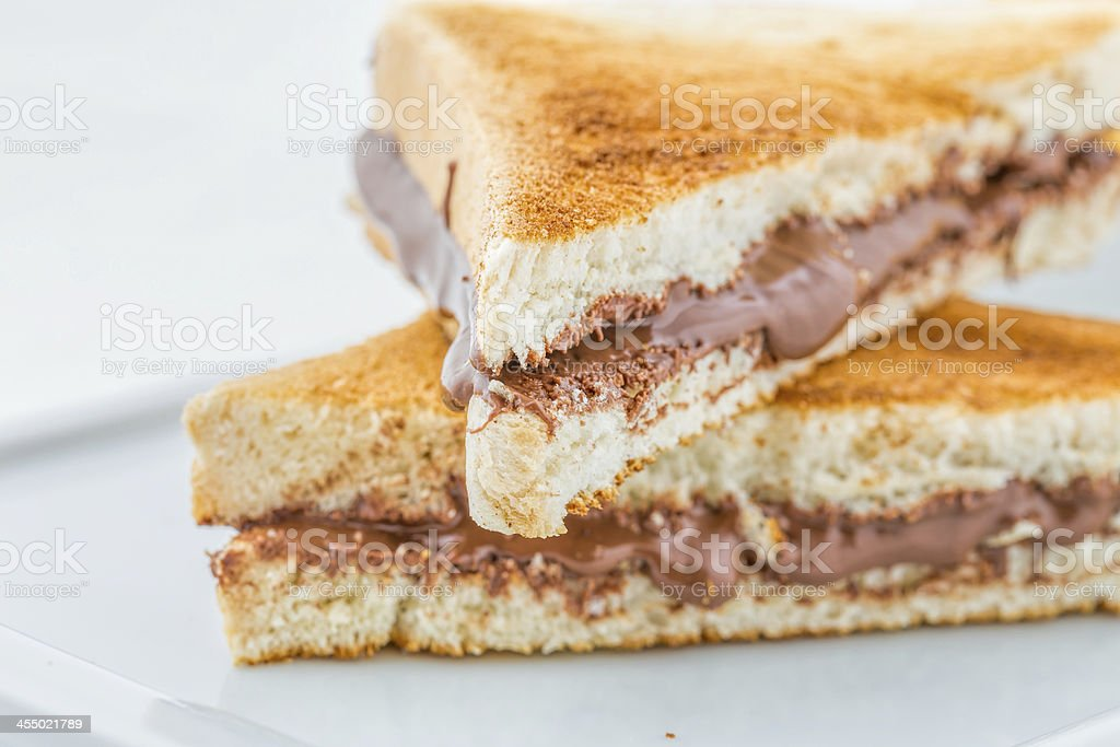 French Toast with Chocolate Cream Nutella royalty-free stock photo